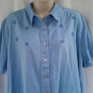 Victoria Jones Woman shirt top 1X XL Blue